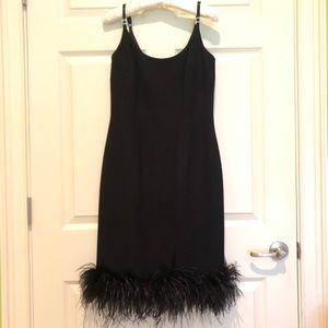 Donna Morgan Black Fun Feather Semi Formal Dress